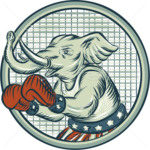 Republican Elephant Boxer Mascot Circle Etching Stock photo © patrimonio