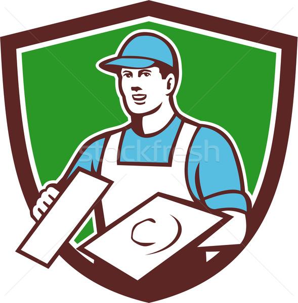 Metselwerk kuif retro illustratie bouwvakker Stockfoto © patrimonio