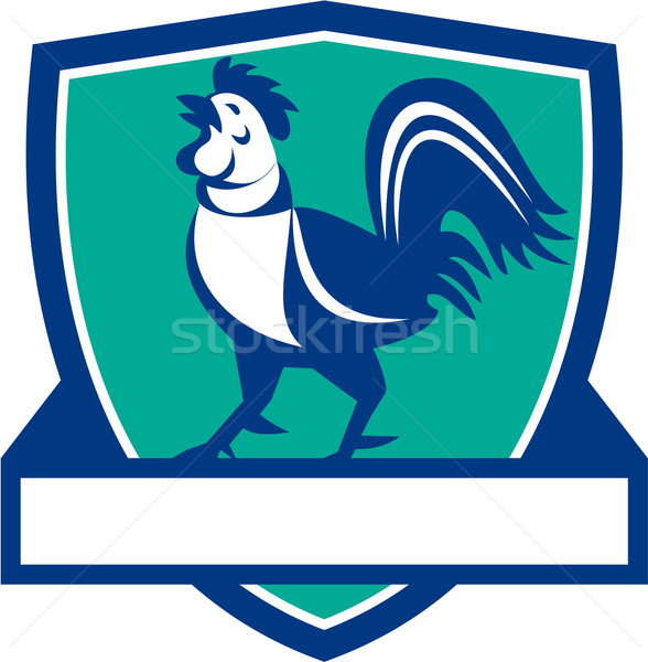 Chicken Rooster Crowing Shield Retro Stock photo © patrimonio