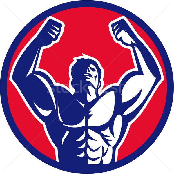 Body Builder Flexing Muscles Circle Retro Stock photo © patrimonio