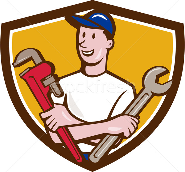 Handyman Spanner Monkey Wrench Crest Cartoon Stock photo © patrimonio