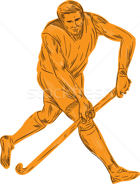 Hockey speler lopen stick tekening schets Stockfoto © patrimonio