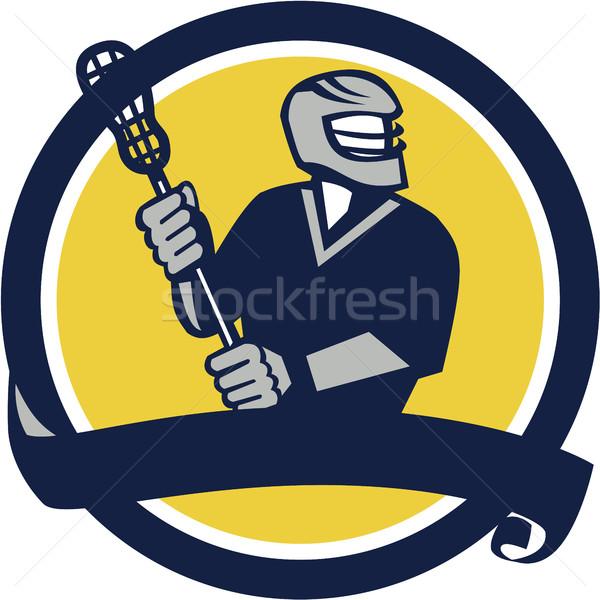 Lacrosse Player Ribbon Circle Retro Stock photo © patrimonio