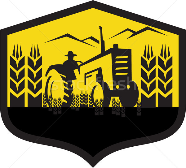 Trekker oogst tarwe boerderij kuif retro Stockfoto © patrimonio