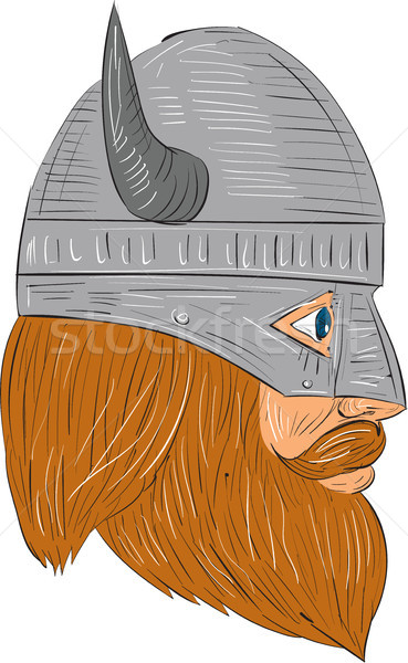 Viking Warrior Head Right Side View Drawing Stock photo © patrimonio