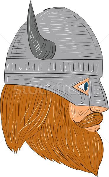 Vikingo guerrero cabeza vista lateral dibujo Foto stock © patrimonio