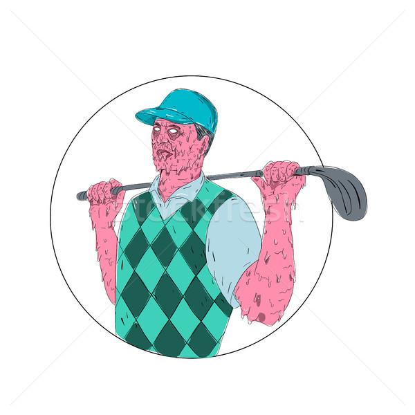 Golfer golf club cirkel vuil kunst Stockfoto © patrimonio