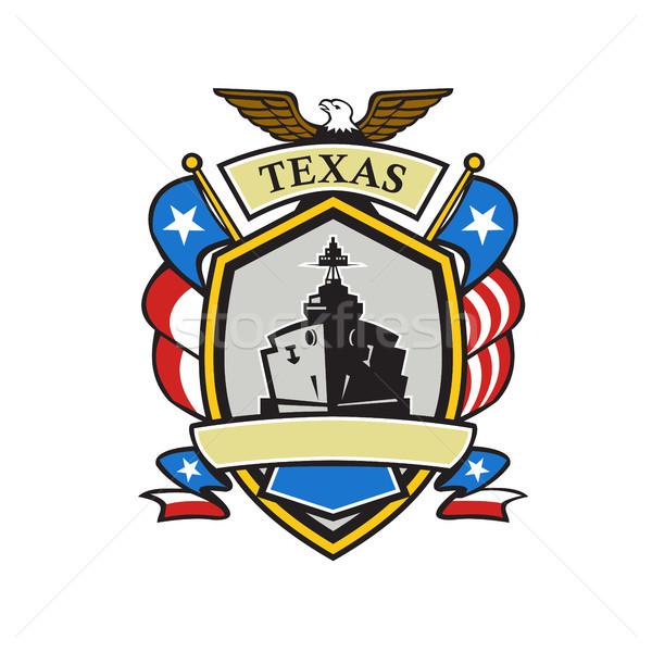Teksas savaş gemisi amblem Retro retro tarzı örnek Stok fotoğraf © patrimonio