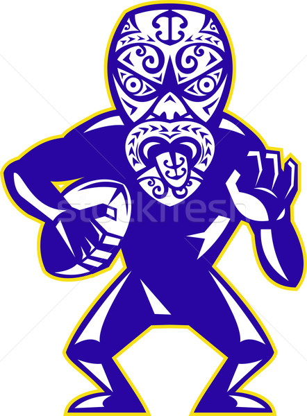 Stock photo: Maori Mask Rugby Player Running With Ball Fending