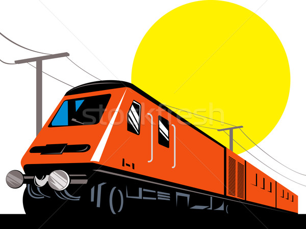 Diesel Zug Lokomotive Retro Illustration up Stock foto © patrimonio