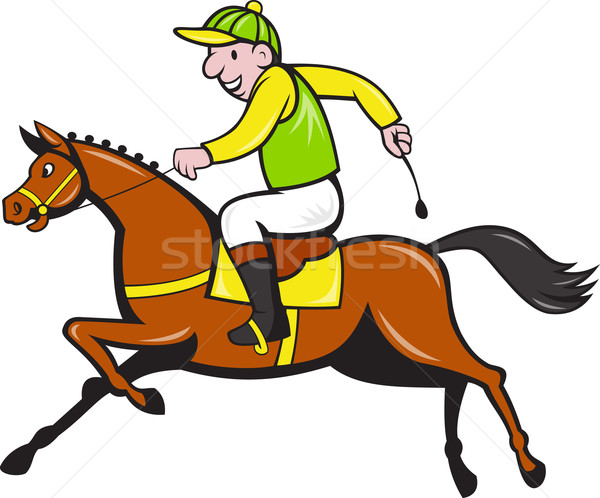 Cartoon Jockey And Horse Racing Side Stock photo © patrimonio