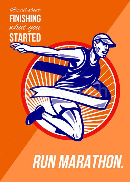 マラソン 仕上げ 何 レトロな ポスター グリーティングカード ストックフォト © patrimonio