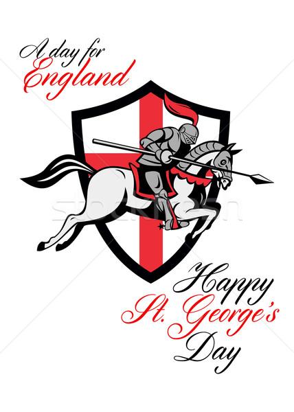 Felice giorno Inghilterra retro poster biglietto d'auguri Foto d'archivio © patrimonio