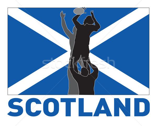 Rugby player lineout throw ball scotland flag  Stock photo © patrimonio
