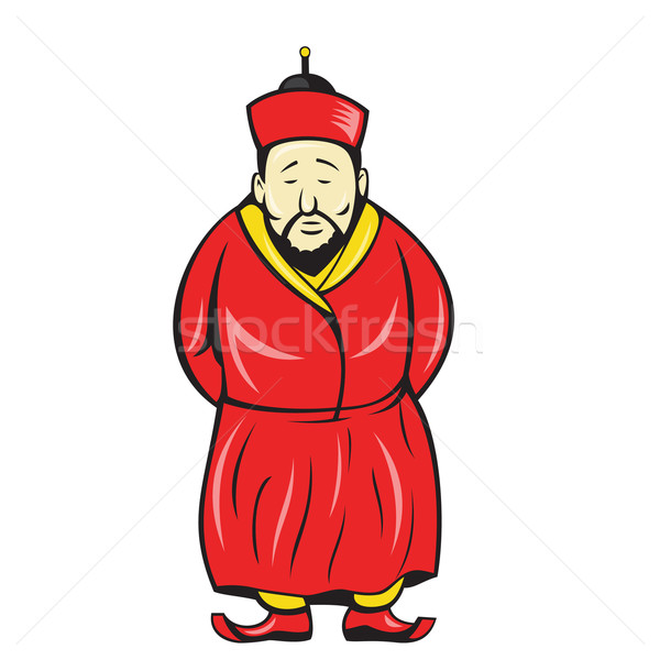 Chinese Asian Man Wearing Robe Cartoon Stock photo © patrimonio