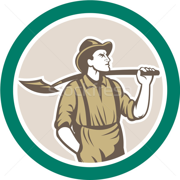 Prospector Miner With Shovel Circle Retro Stock photo © patrimonio