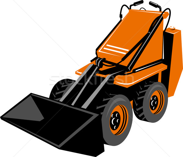 Orange compact skid steer isolated on white background Stock photo © patrimonio