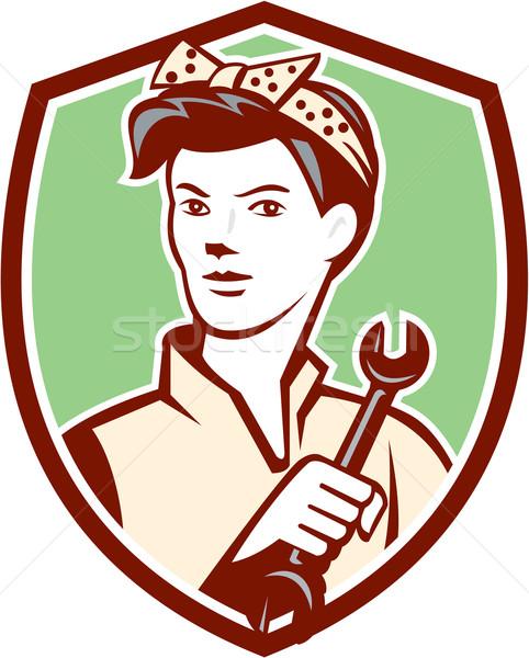 女性 メカニック ワーカー スパナ レトロな ストックフォト © patrimonio