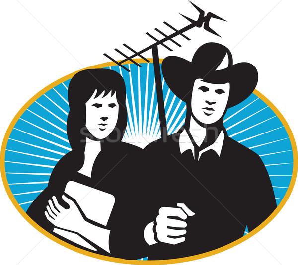 Cowboy ragazza tv antenna Foto d'archivio © patrimonio