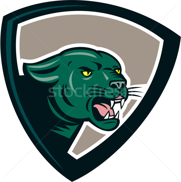 Black Panther Head Growling Shield Cartoon Stock photo © patrimonio