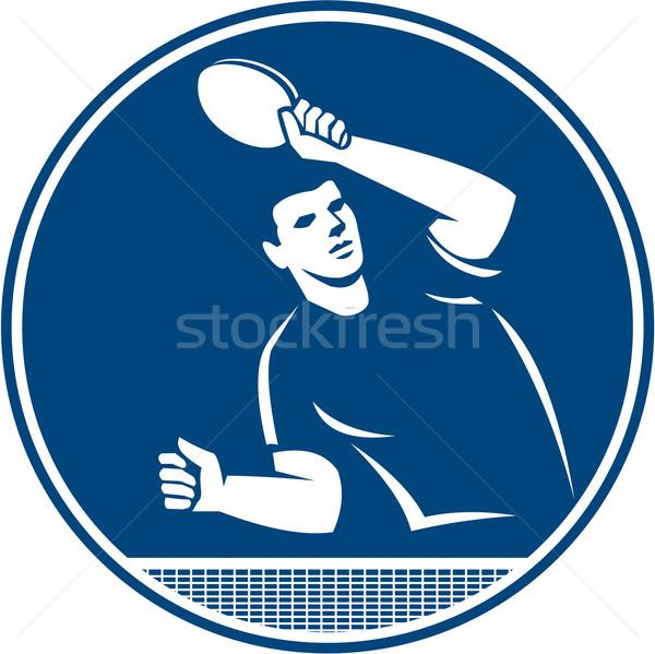 Table Tennis Player Serving Circle Icon Stock photo © patrimonio
