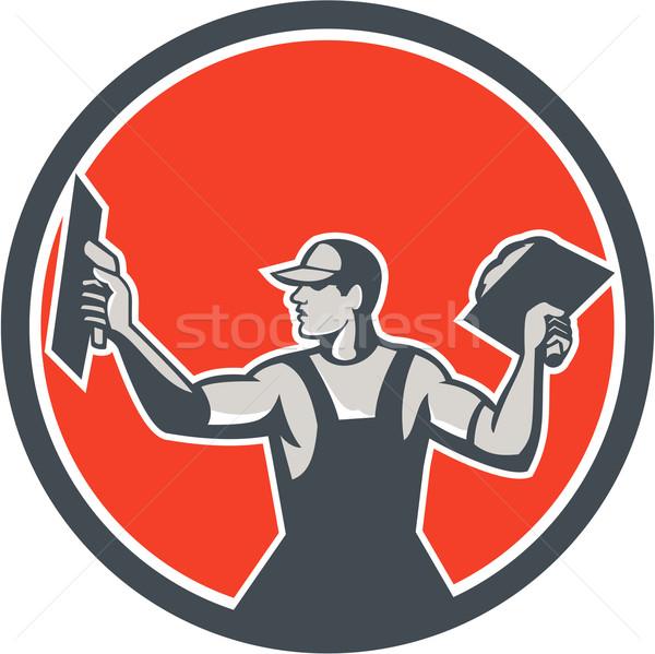 Kamieniarstwo kółko retro ilustracja handlowiec pracownik budowlany Zdjęcia stock © patrimonio
