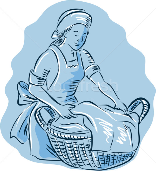 Laundry Maid Basket Vintage Etching Stock photo © patrimonio