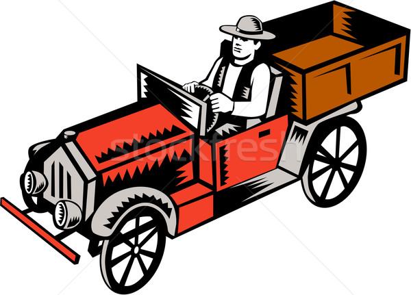 Vintage omhoog vrachtwagen bestuurder illustratie klassiek Stockfoto © patrimonio