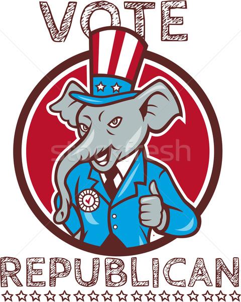 Oy cumhuriyetçi fil maskot daire Stok fotoğraf © patrimonio