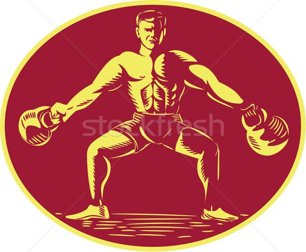 Atleet ovaal illustratie gewichtheffer Stockfoto © patrimonio