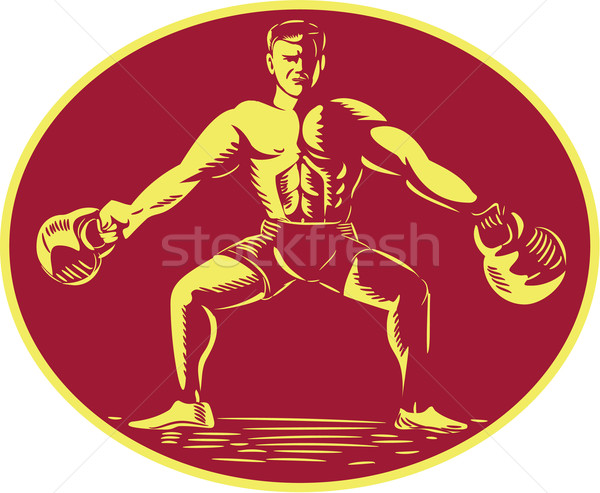 Athlete Lifting Kettlebell Oval Woodcut Stock photo © patrimonio