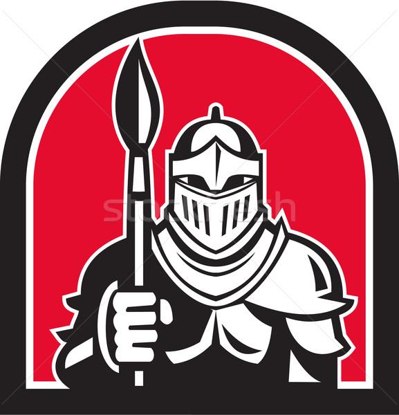 Stock photo: Knight Full Armor Holding Paint Brush Half Circle Retro