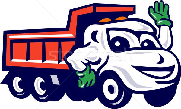 Dump Truck Waving Cartoon Stock photo © patrimonio