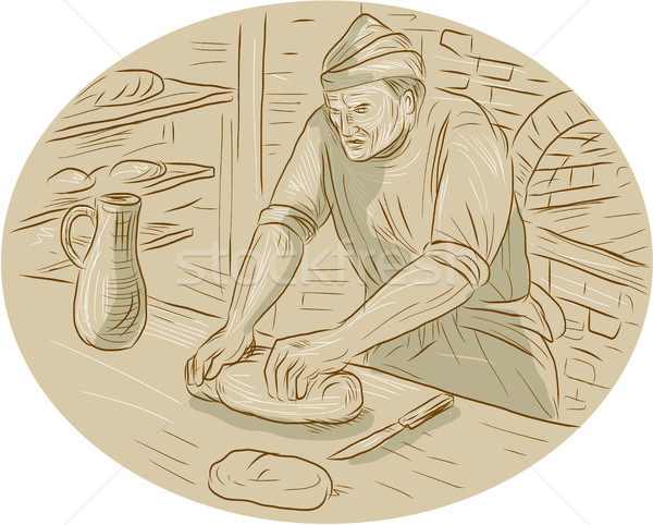 średniowiecznej piekarz chleba owalny rysunek Zdjęcia stock © patrimonio