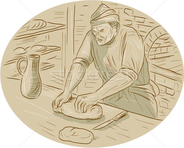 Medieval Baker Kneading Bread Dough Oval Drawing Stock photo © patrimonio