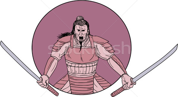 Raging Samurai Warrior Two Swords Oval Drawing Stock photo © patrimonio