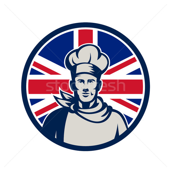 Brits bakker chef union jack vlag icon Stockfoto © patrimonio