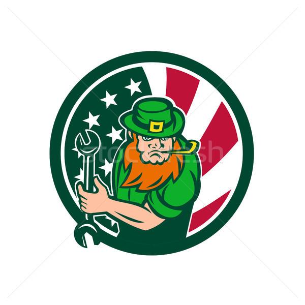 Irish-American Mechanic USA Flag Icon Stock photo © patrimonio