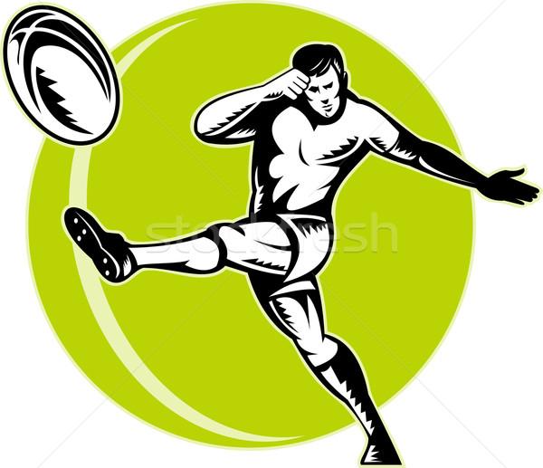 Сток-фото: регби · игрок · мяча · ретро
