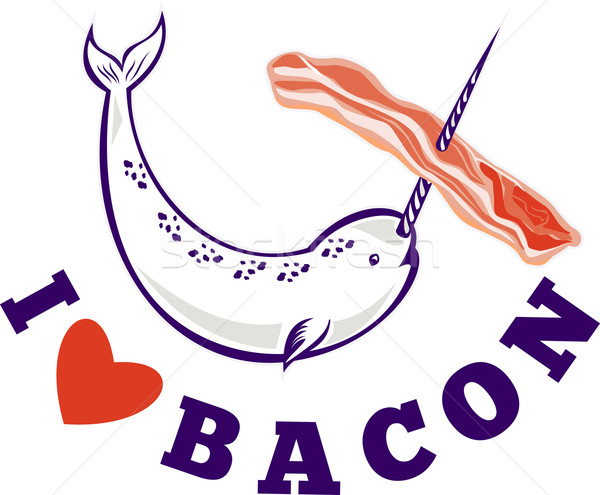 narwhal whale i love bacon Stock photo © patrimonio