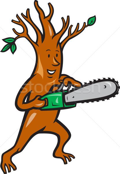 Foto stock: árbol · hombre · ilustración · cirujano · leñador