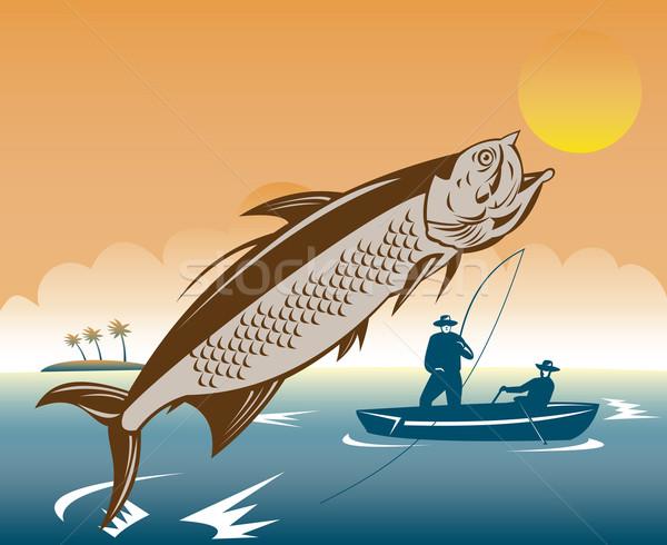 tarpon fish jumping reeled by fisherman Stock photo © patrimonio