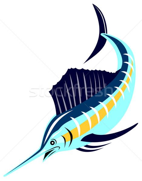 Balık atlama Retro örnek retro tarzı Stok fotoğraf © patrimonio
