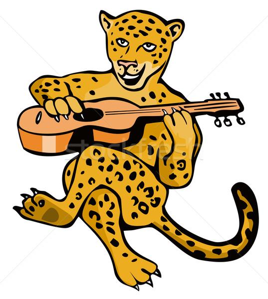 Jaguar Oynama Gitar Karikatür örnek Aslan Vektör