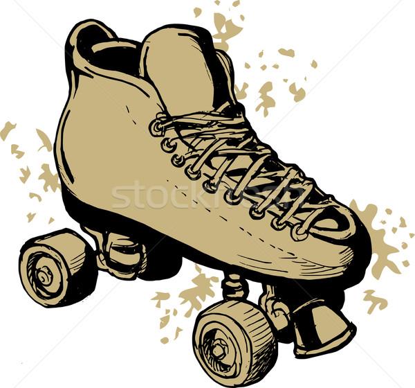 Stockfoto: Derby · schaatsen · geïsoleerd · witte · illustratie