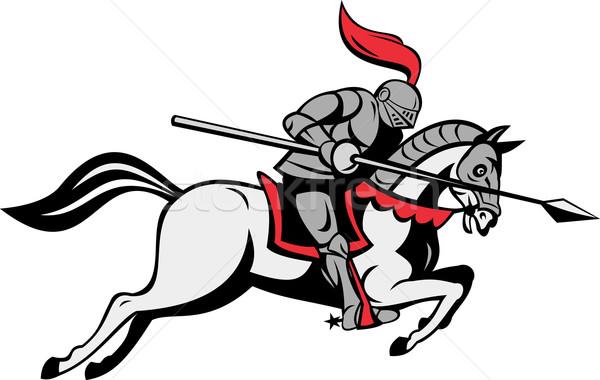 knight with lance riding horse Stock photo © patrimonio