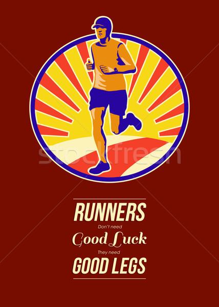 Marathon Runner Retro Poster Stock photo © patrimonio