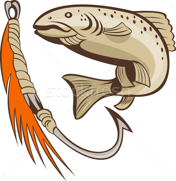 trout jumping and bait lure Stock photo © patrimonio