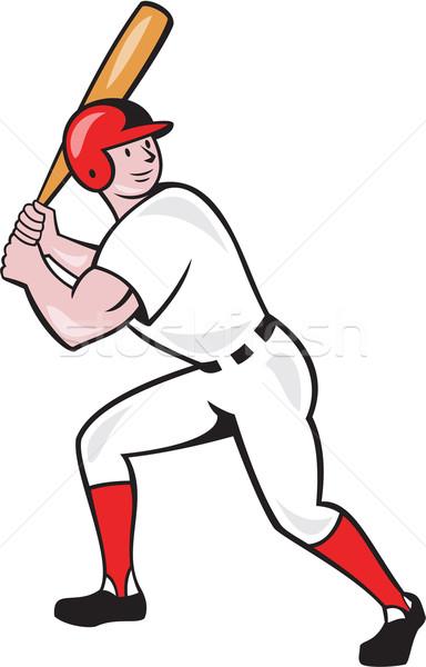 Baseball Player Bat Side Isolated Cartoon Stock photo © patrimonio