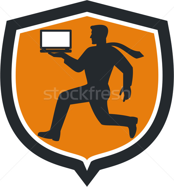Computer Technician Carrying Laptop Running Shield Stock photo © patrimonio